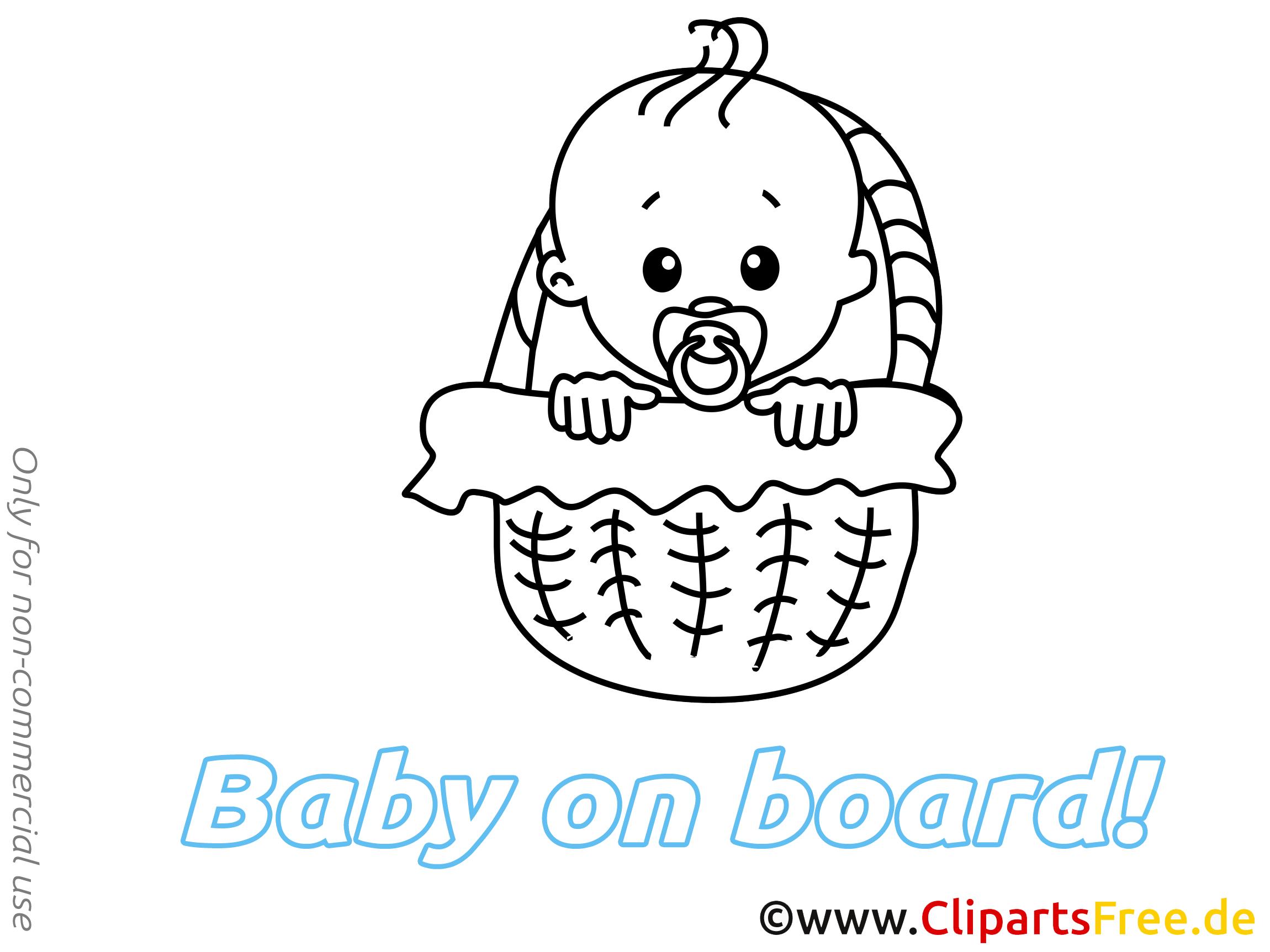 Panier dessins à imprimer – Bébé à bord clipart
