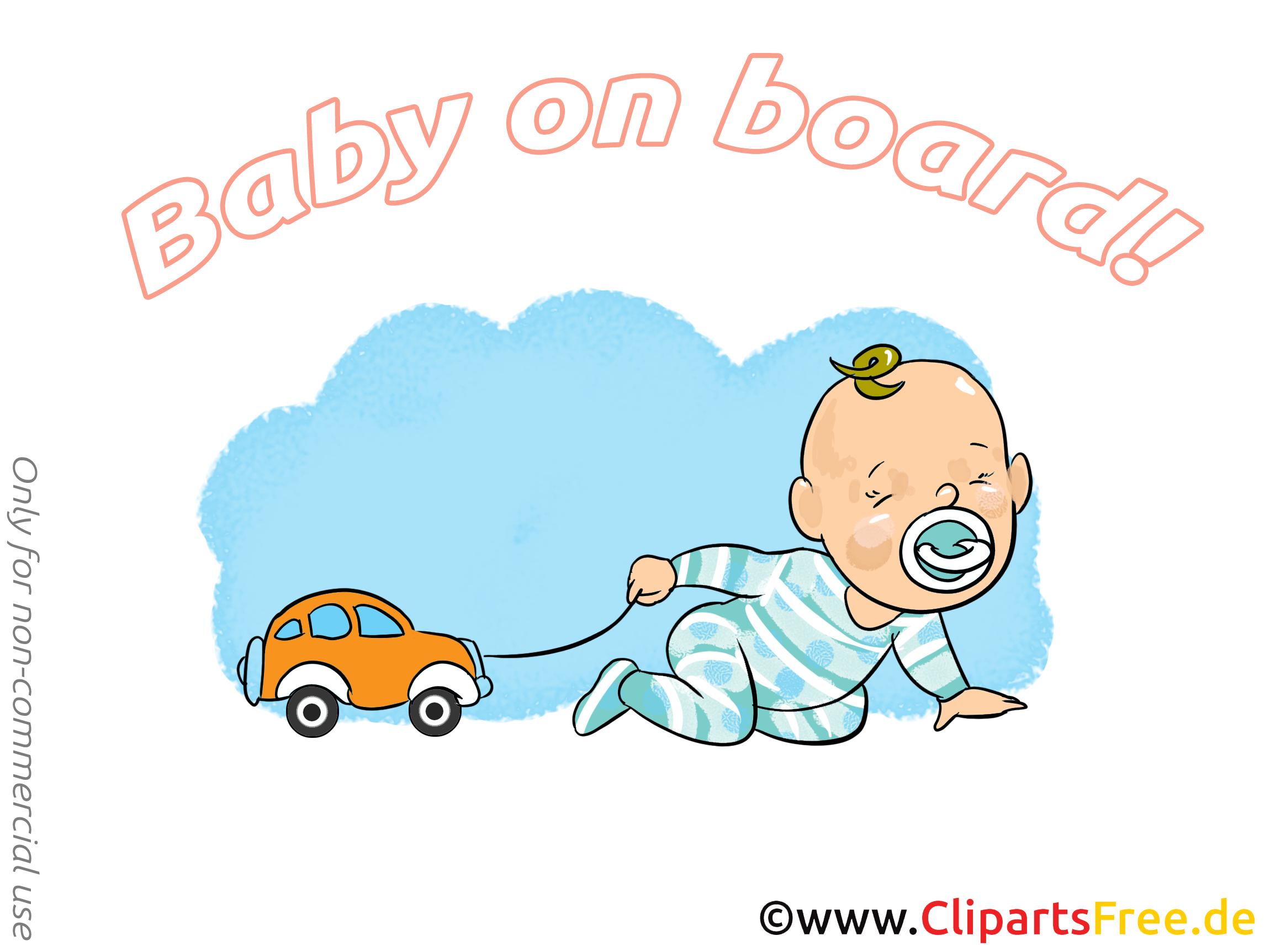 Petite voiture dessin – Bébé à bord à télécharger