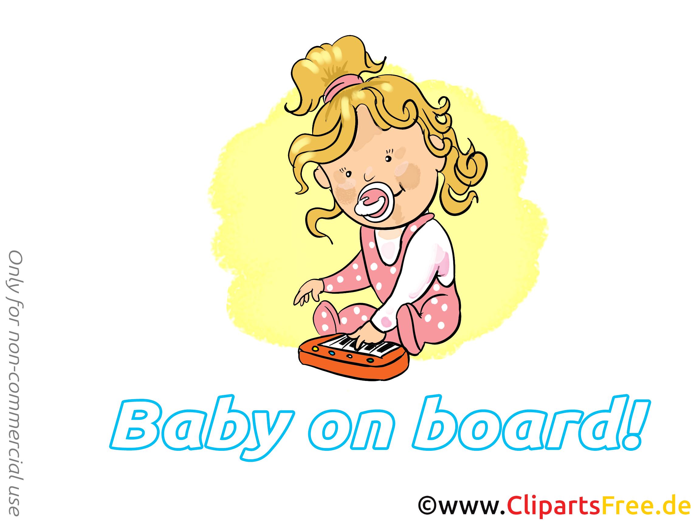 Piano images gratuites – Bébé à bord clipart