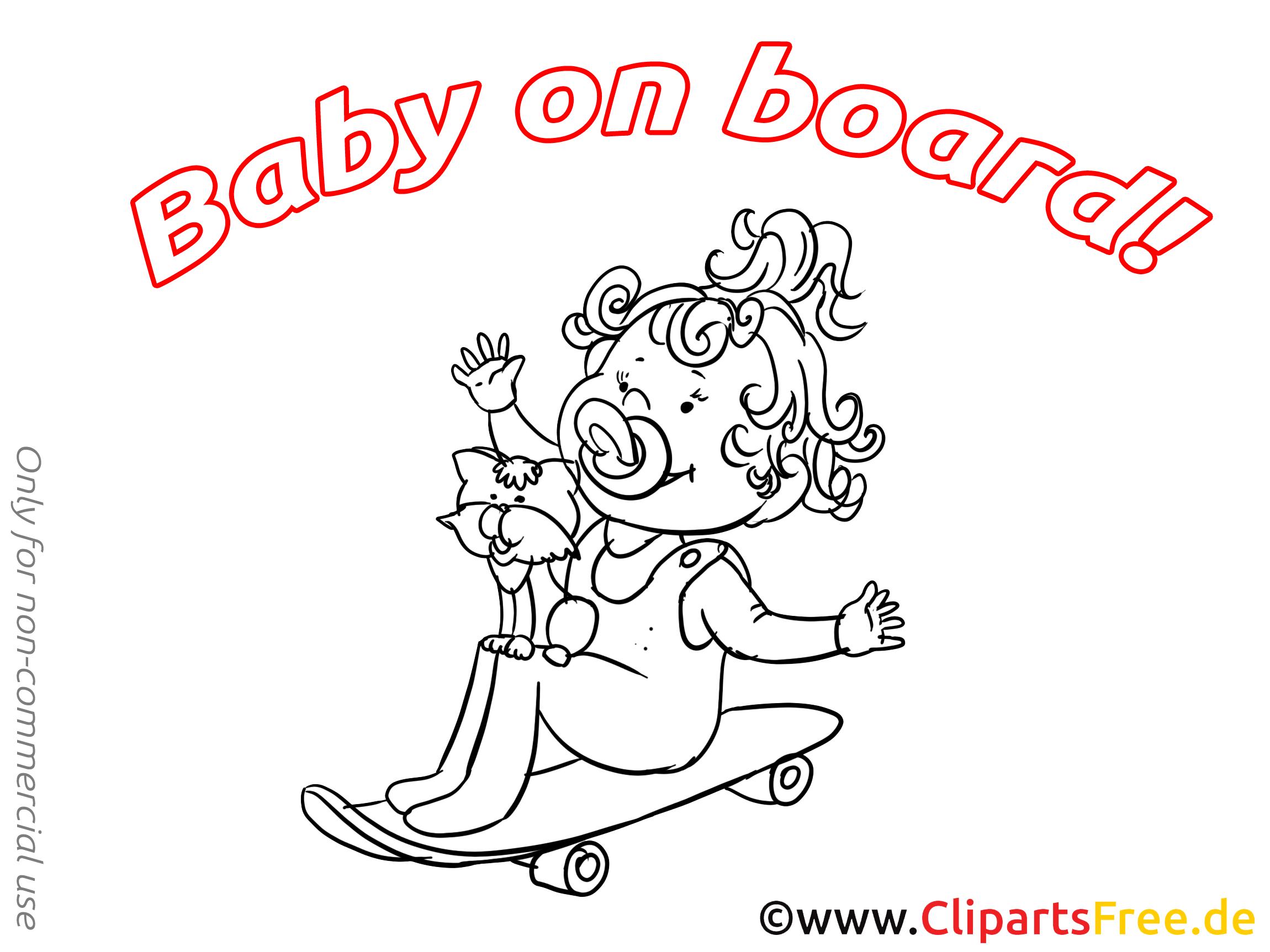 Planche à roulette à colorier – Bébé à bord cliparts