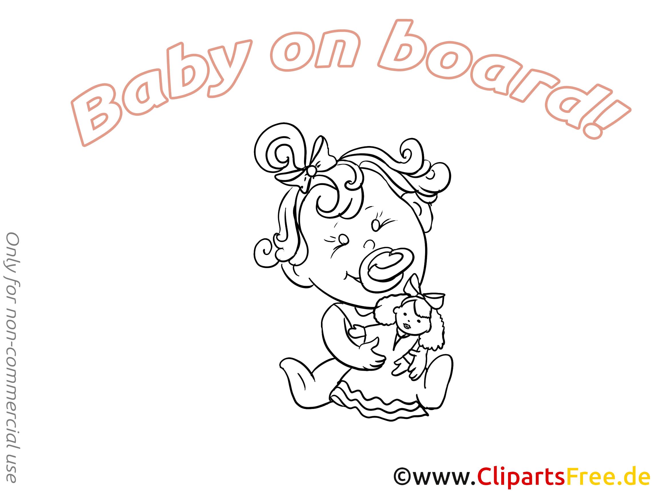 Poupée image à imprimer – Bébé à bord illustration
