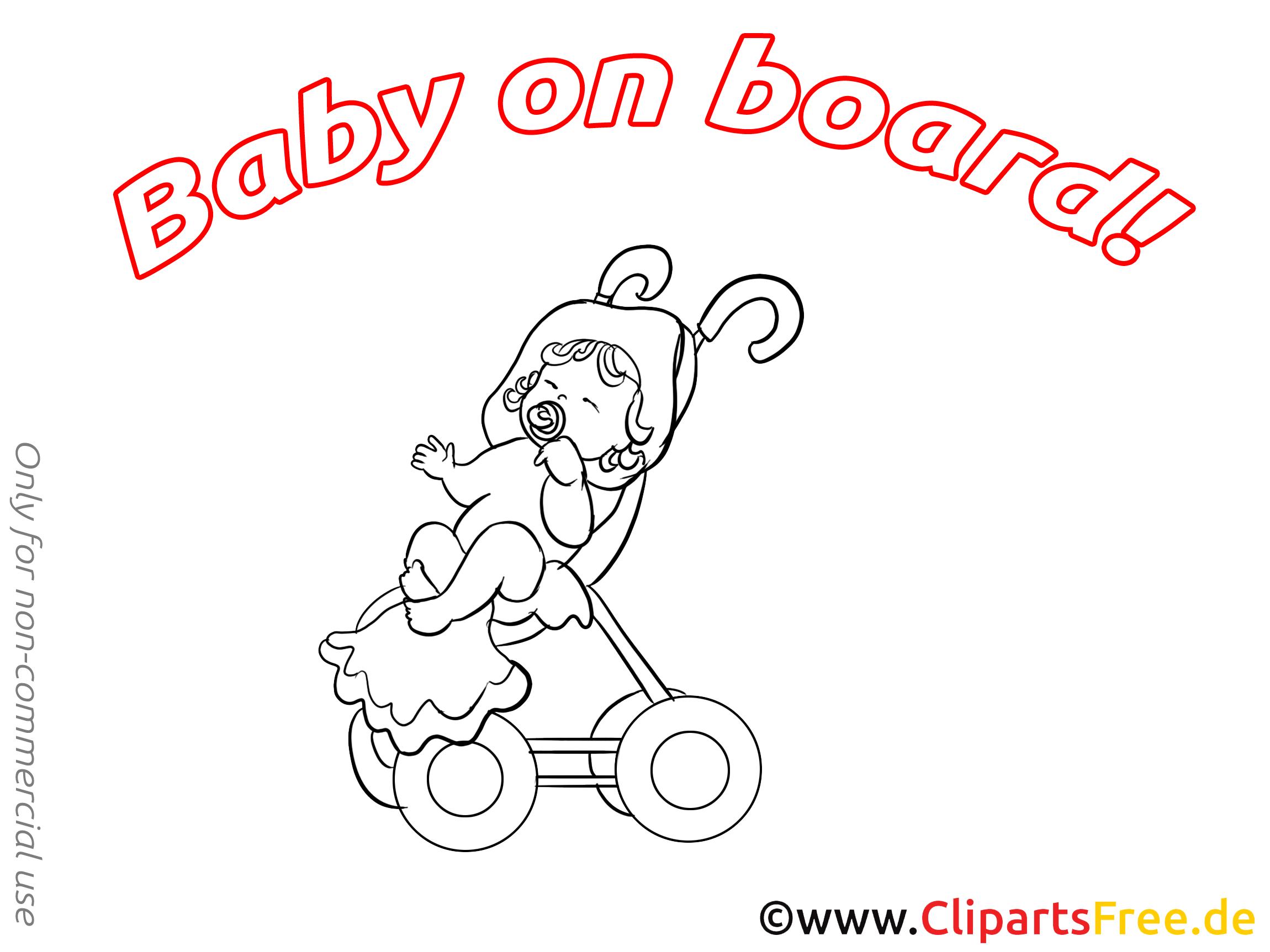 Poussette image à colorier – Bébé à bord images cliparts