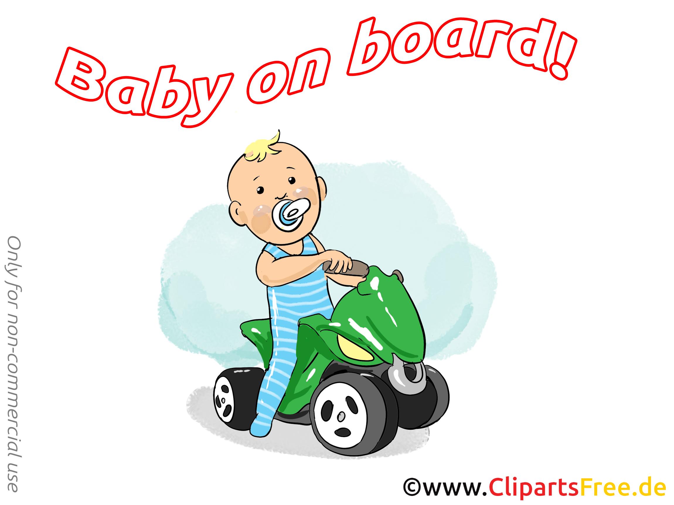 Quadricycle clip art – Bébé à bord image gratuite