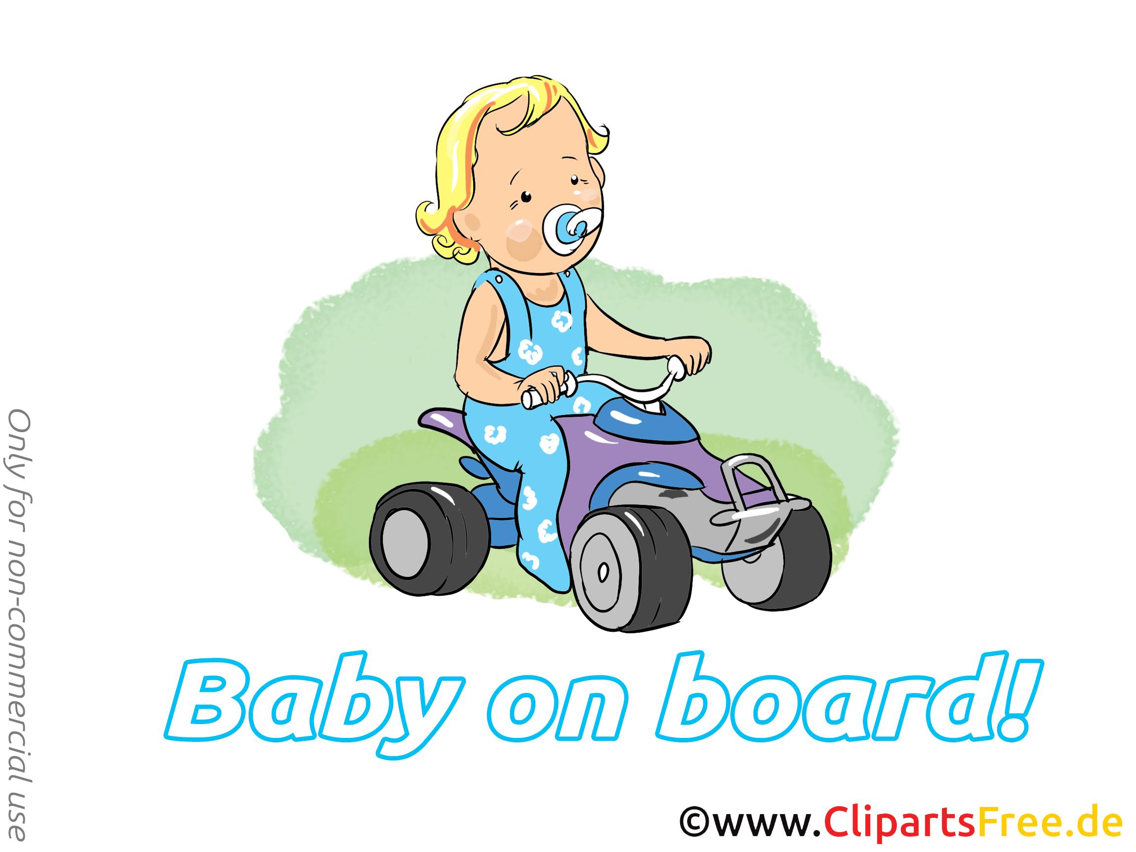 Voiture clipart – Bébé à bord dessins gratuits