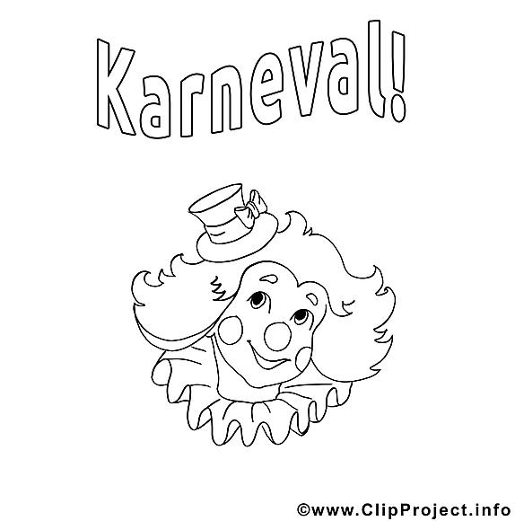 Coloriage clown  – Carnaval dessins gratuits