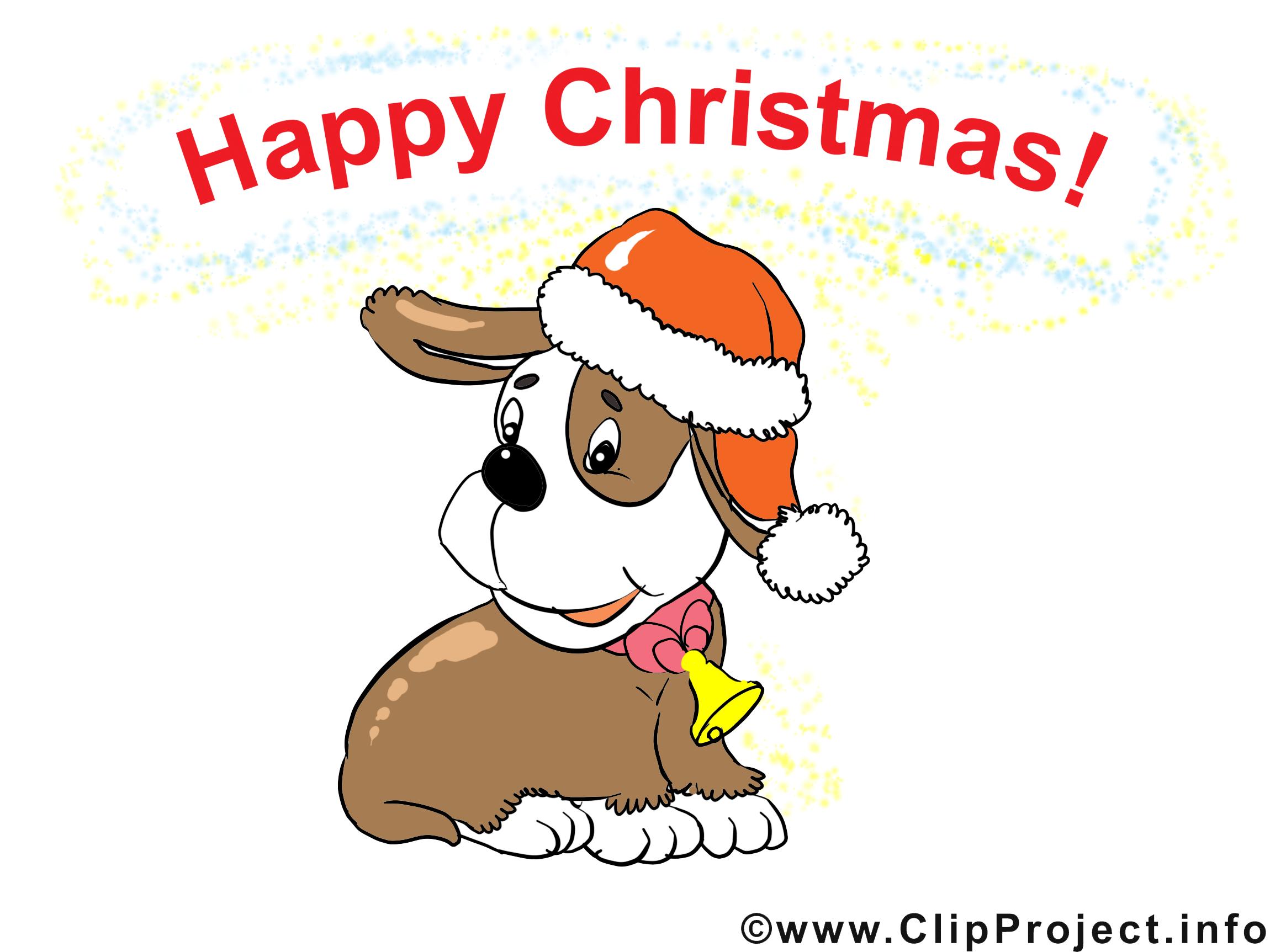 Chien Noël illustration à télécharger gratuite