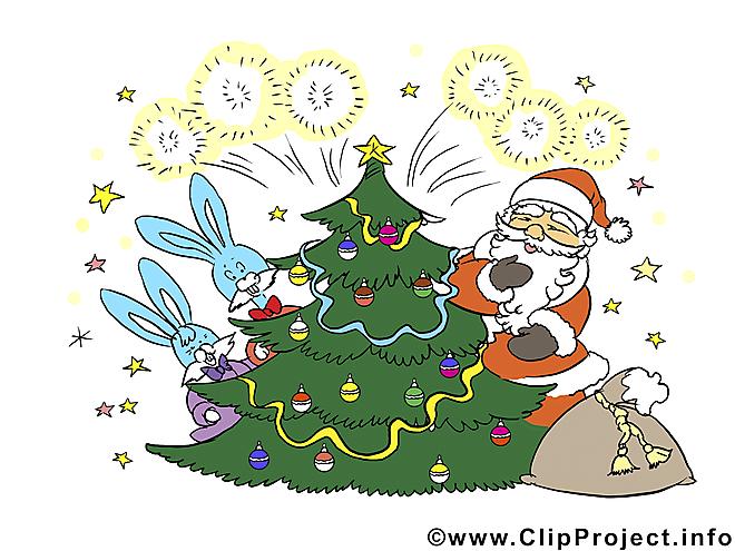 Cliparts gratuits de Noël - Père Noël at Sapin