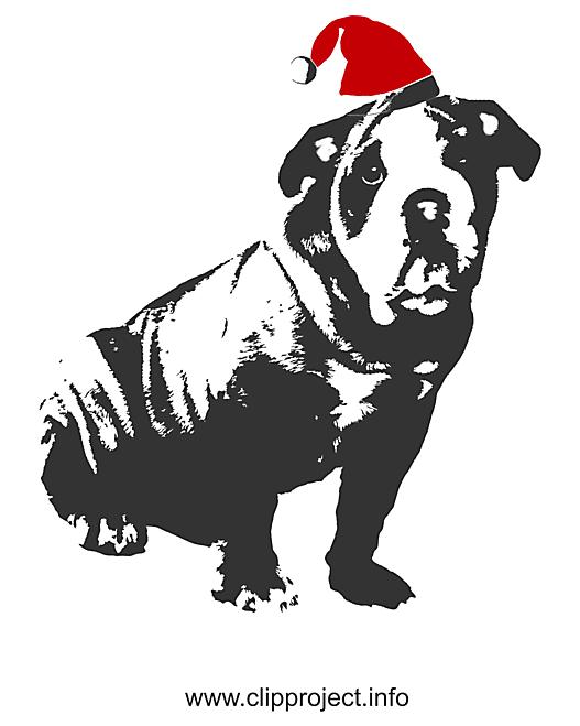 Noël chien graphique de la silhouette, clipart, image, card gratuit