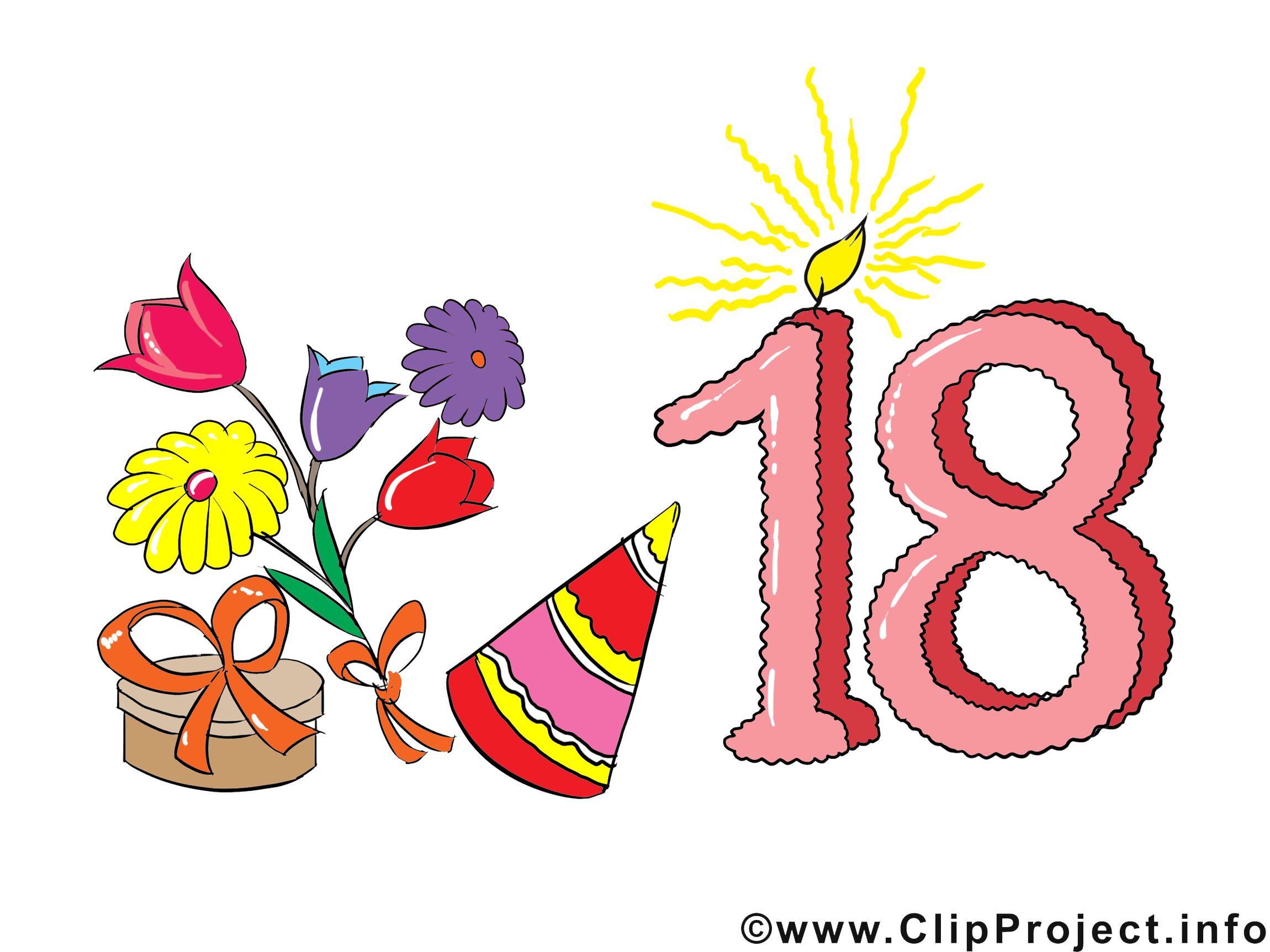 18 ans clip arts gratuits anniversaire illustrations cartes virtuelles anniversaire dessin - Clipart anniversaire gratuit telecharger ...