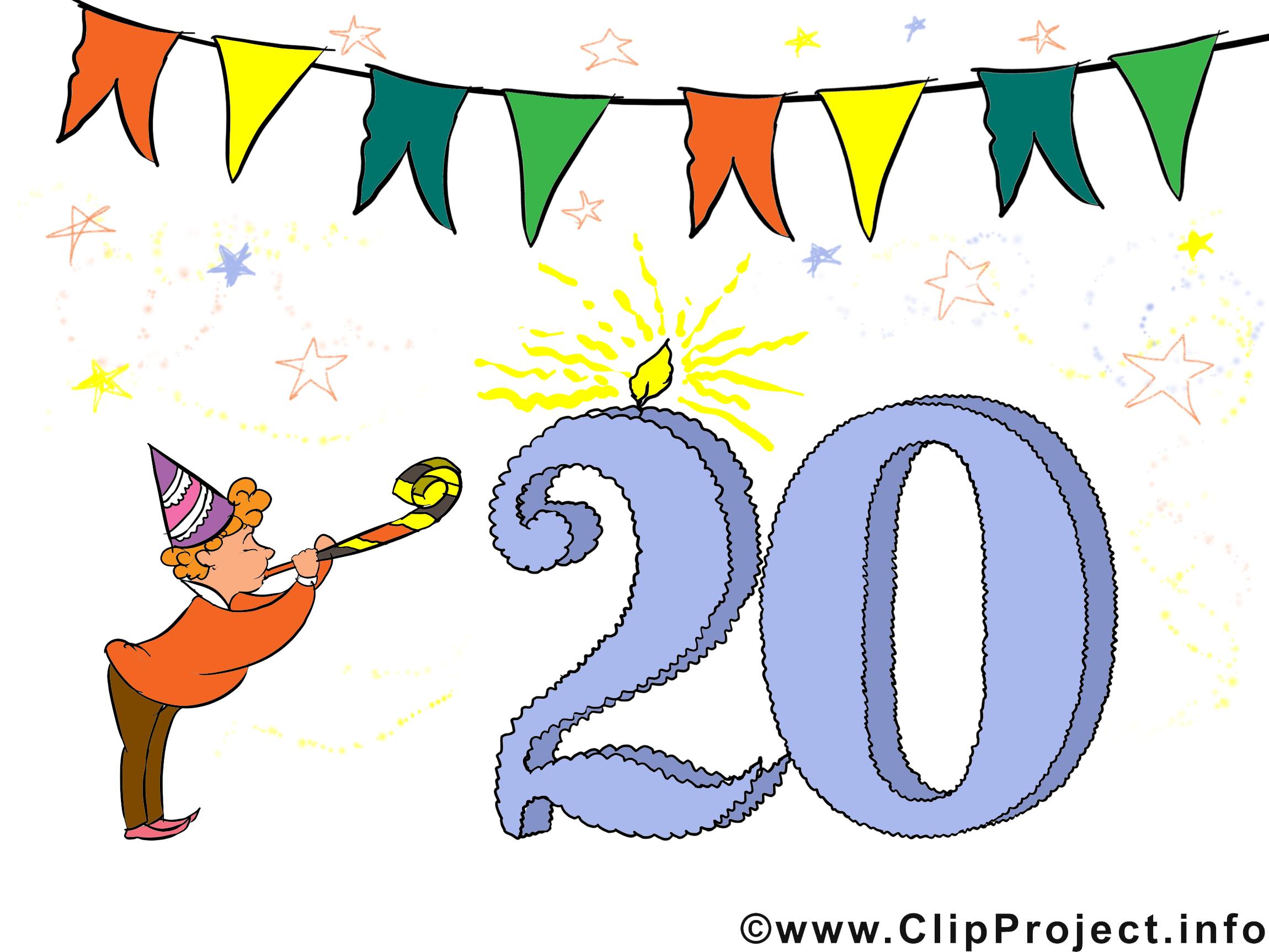 20 ans anniversaire image gratuite cartes virtuelles anniversaire dessin picture image - Clipart anniversaire gratuit telecharger ...