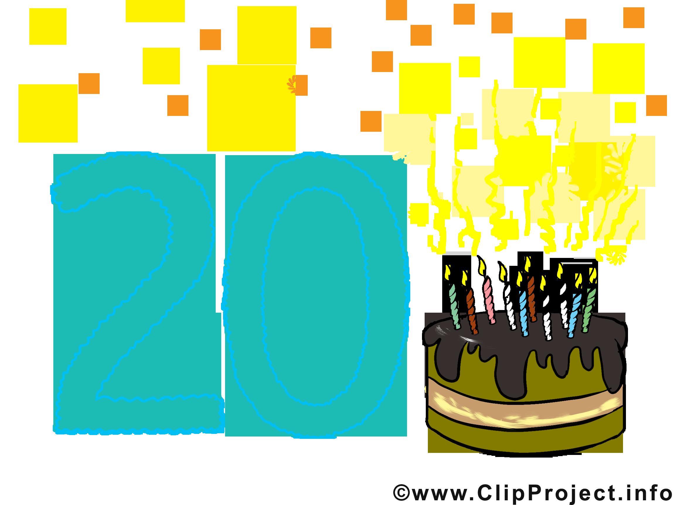 20 ans image gratuite anniversaire cliparts cartes virtuelles anniversaire dessin picture - Dessin anniversaire 20 ans ...