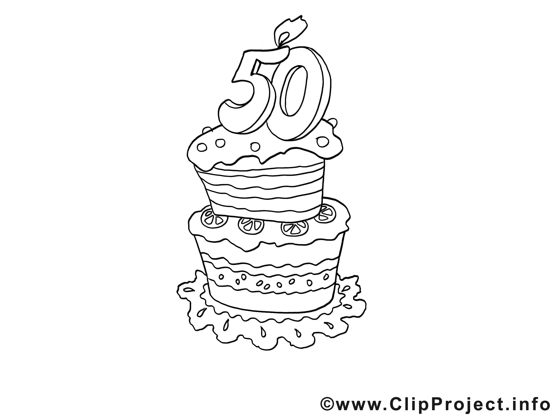 Coloriage anniversaire de mariage 50 ans - Dessin gateau anniversaire 50 ans ...