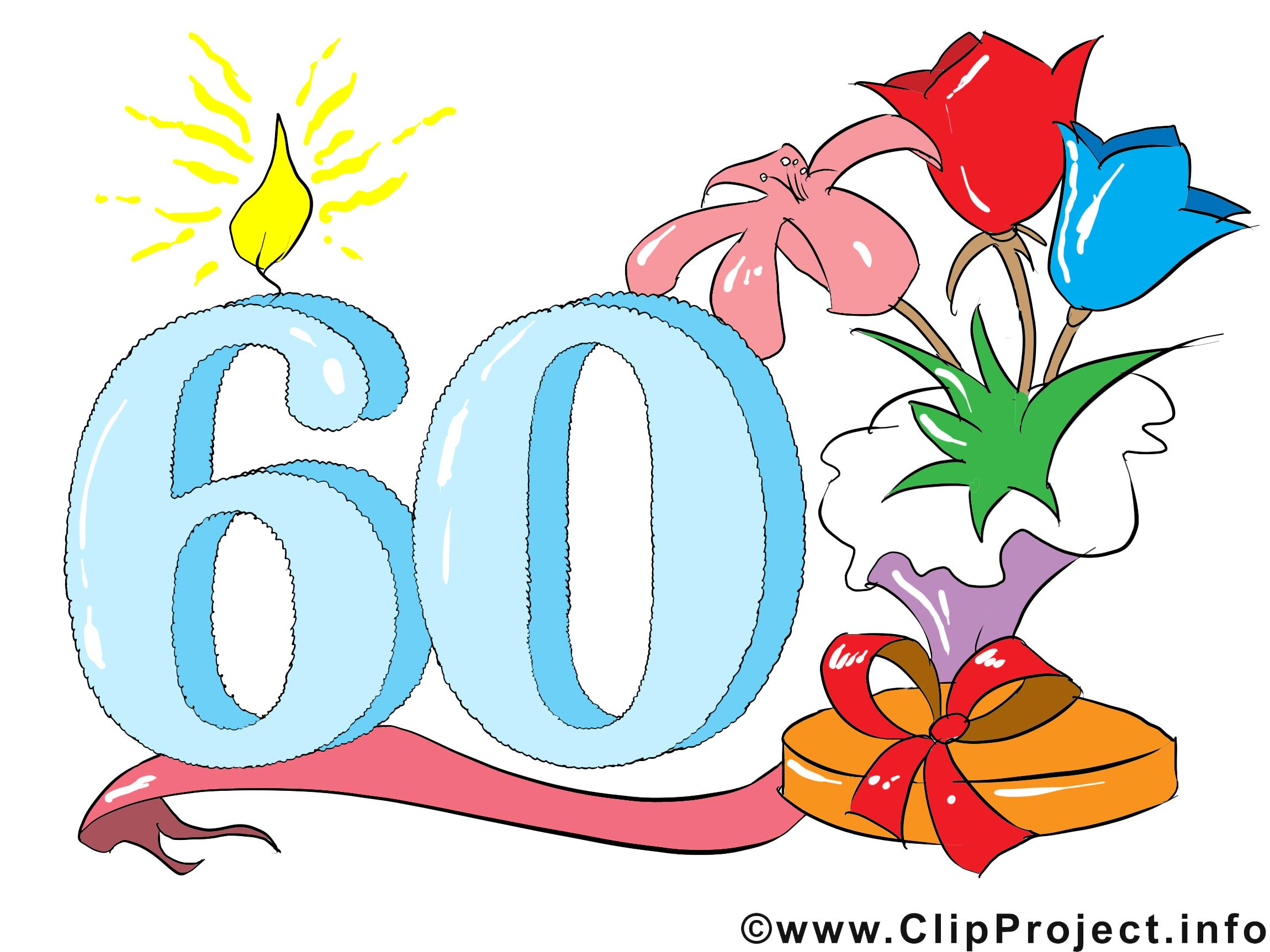 Clipart Anniversaire 60 ans clipart gratuit – anniversaire images - cartes virtuelles