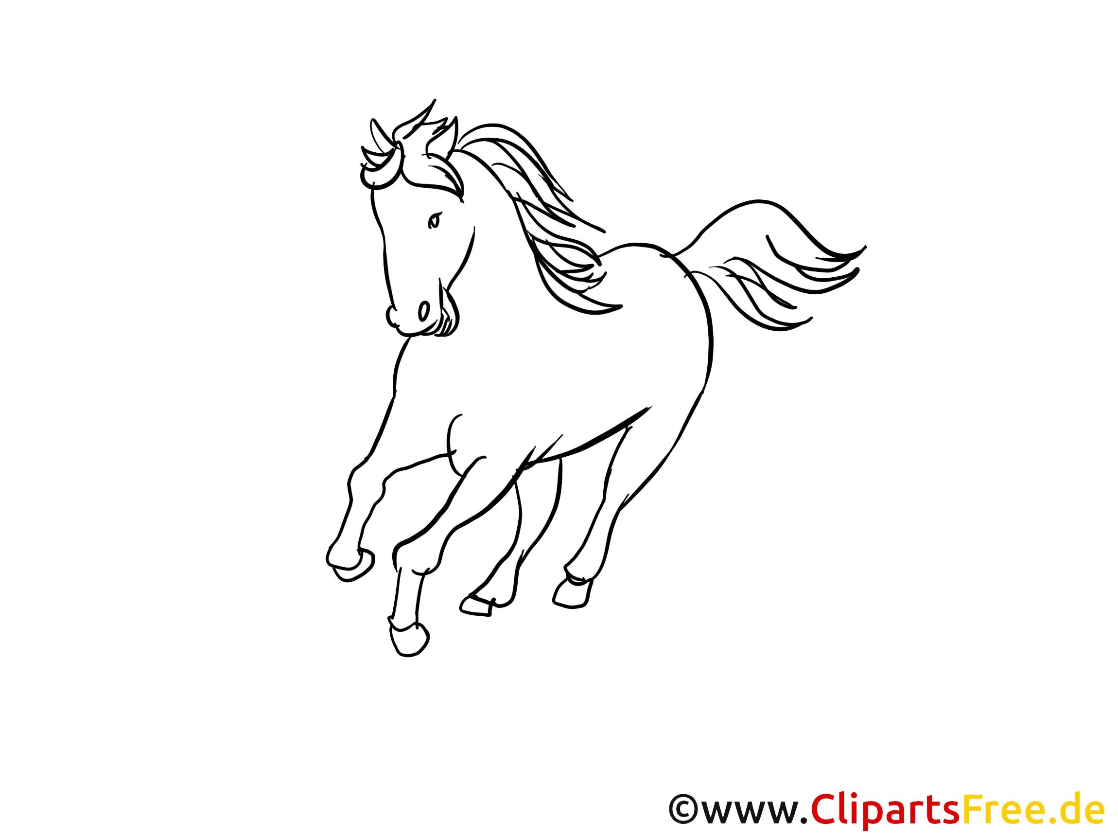 Clip art gratuit à colorier cheval dessin