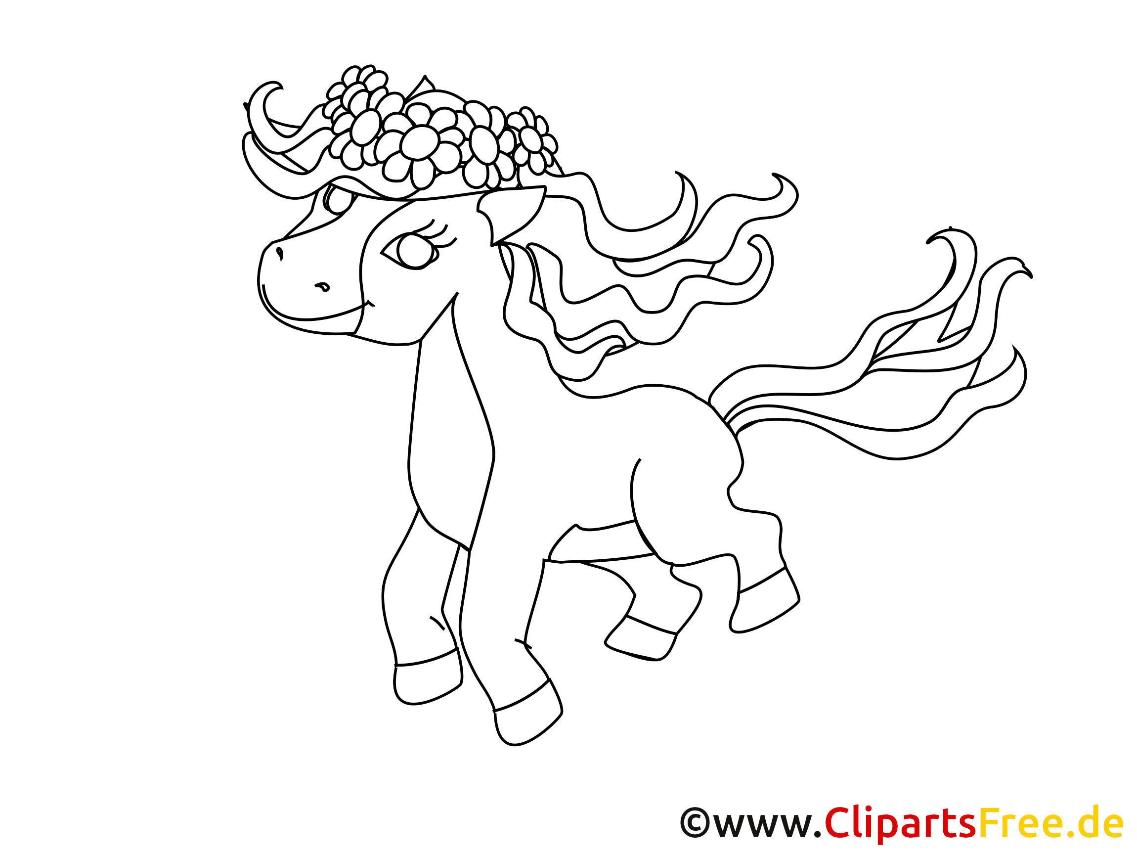 Coloriage clip arts poney – Cheval illustrations