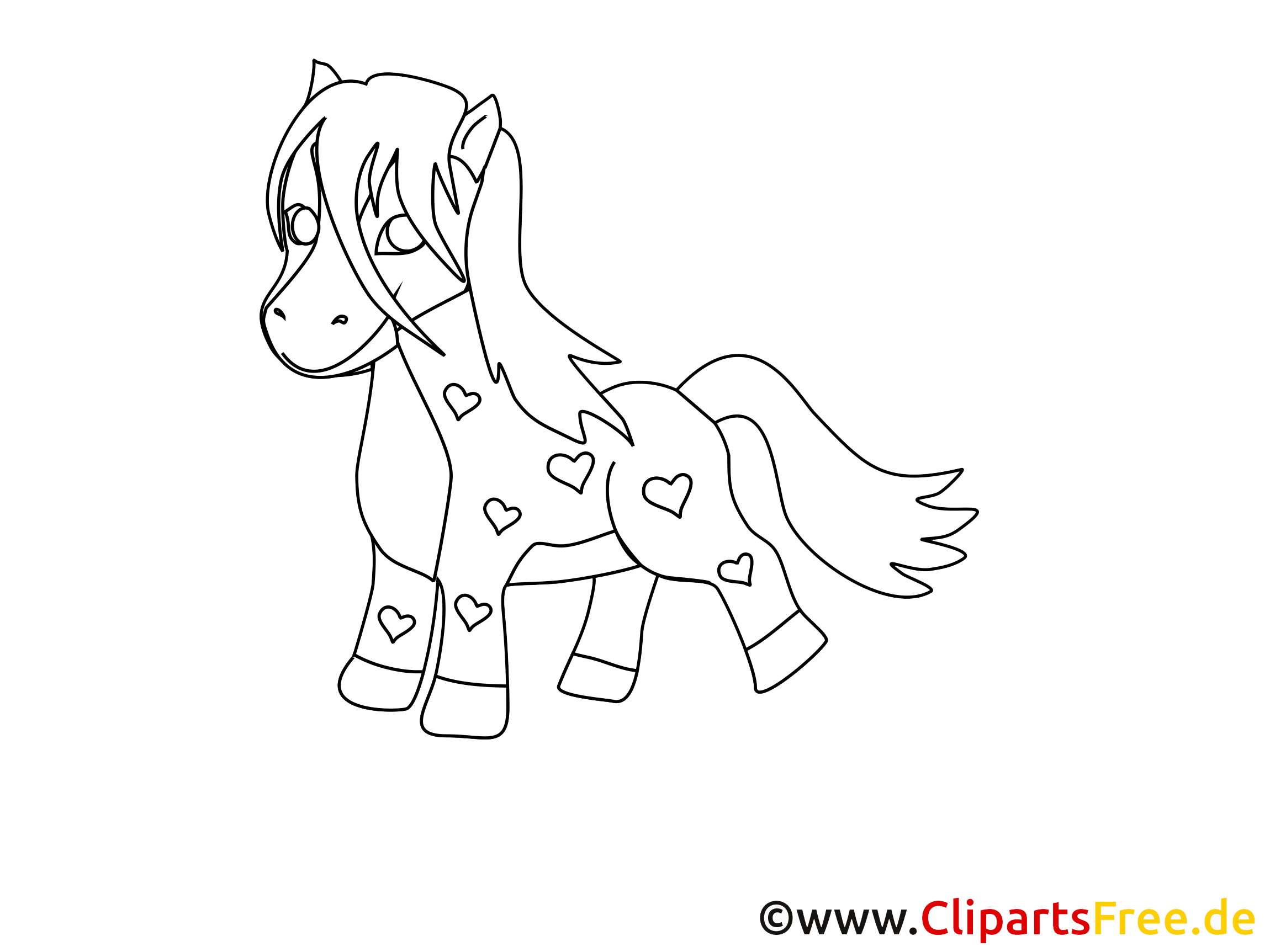 Coloriage poney dessin – Cheval à télécharger
