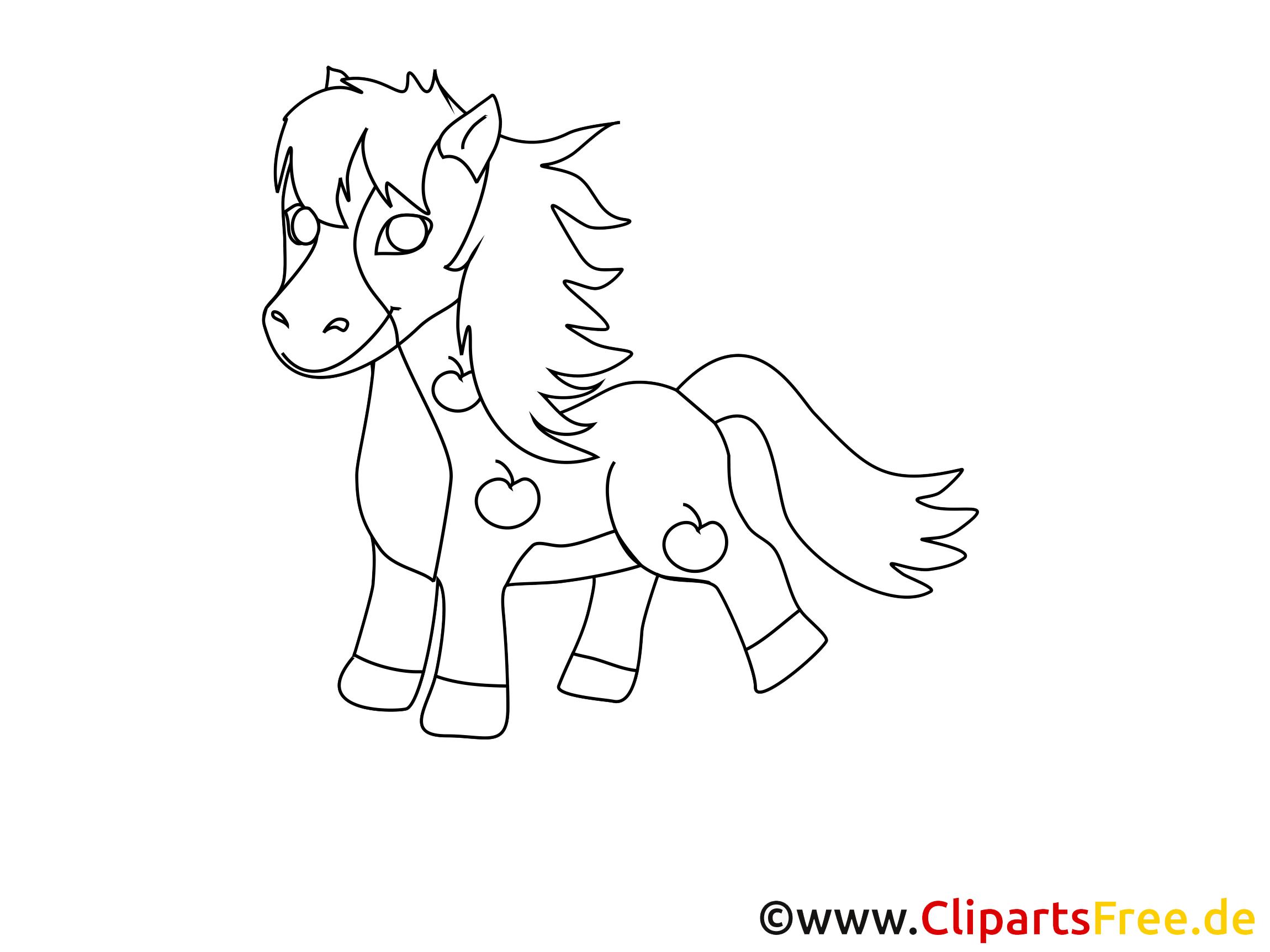 Coloriage poney image à télécharger – Cheval clipart