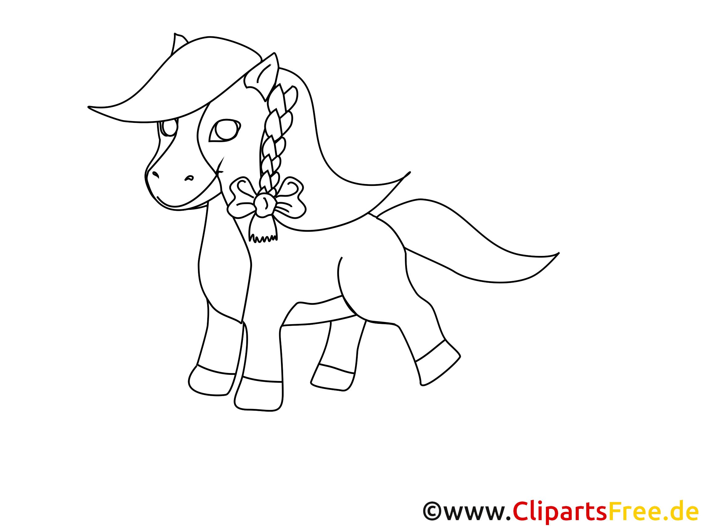 Coloriage poney images gratuites – Cheval clipart