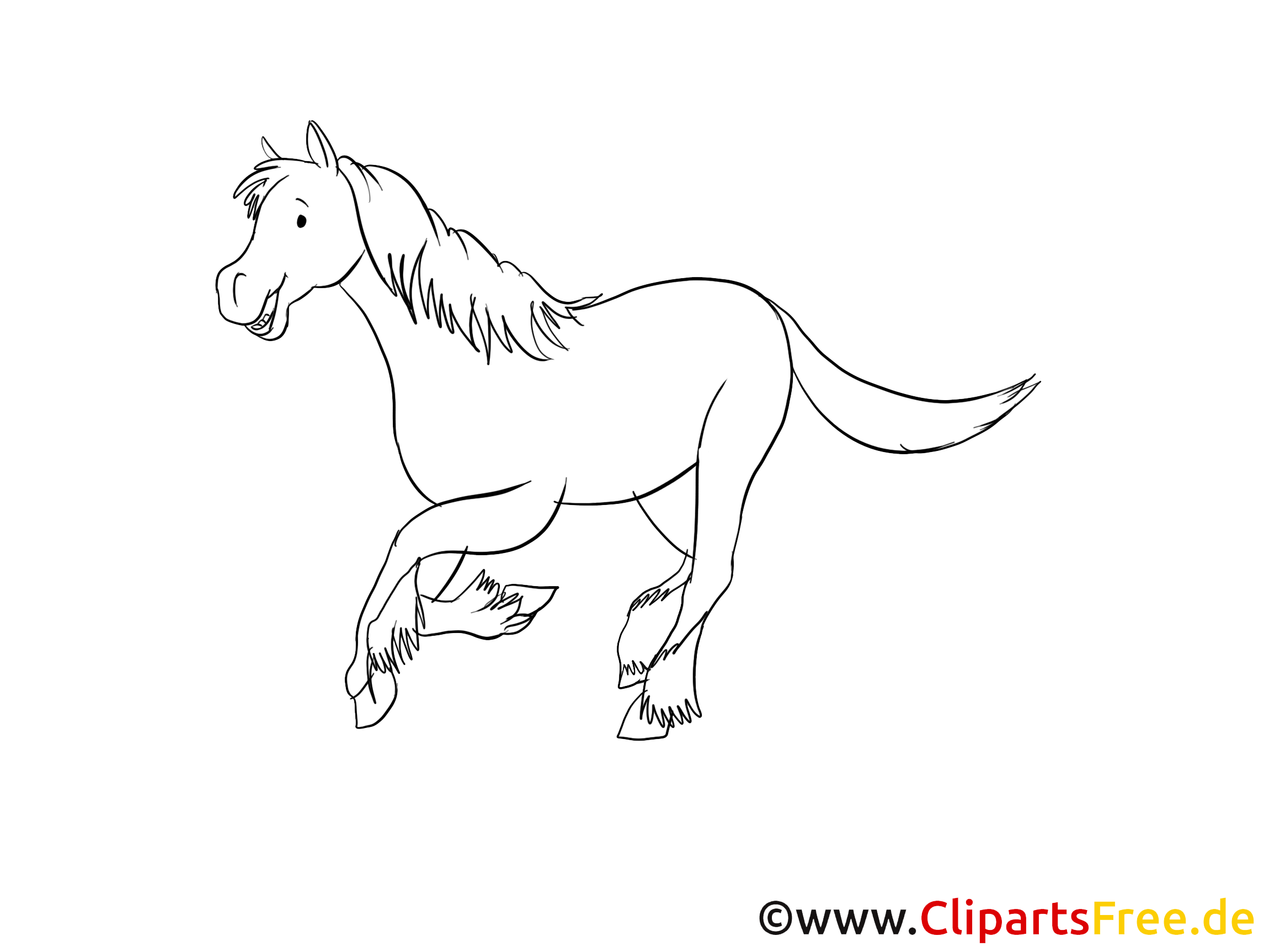 Illustration gratuite à colorier cheval clipart