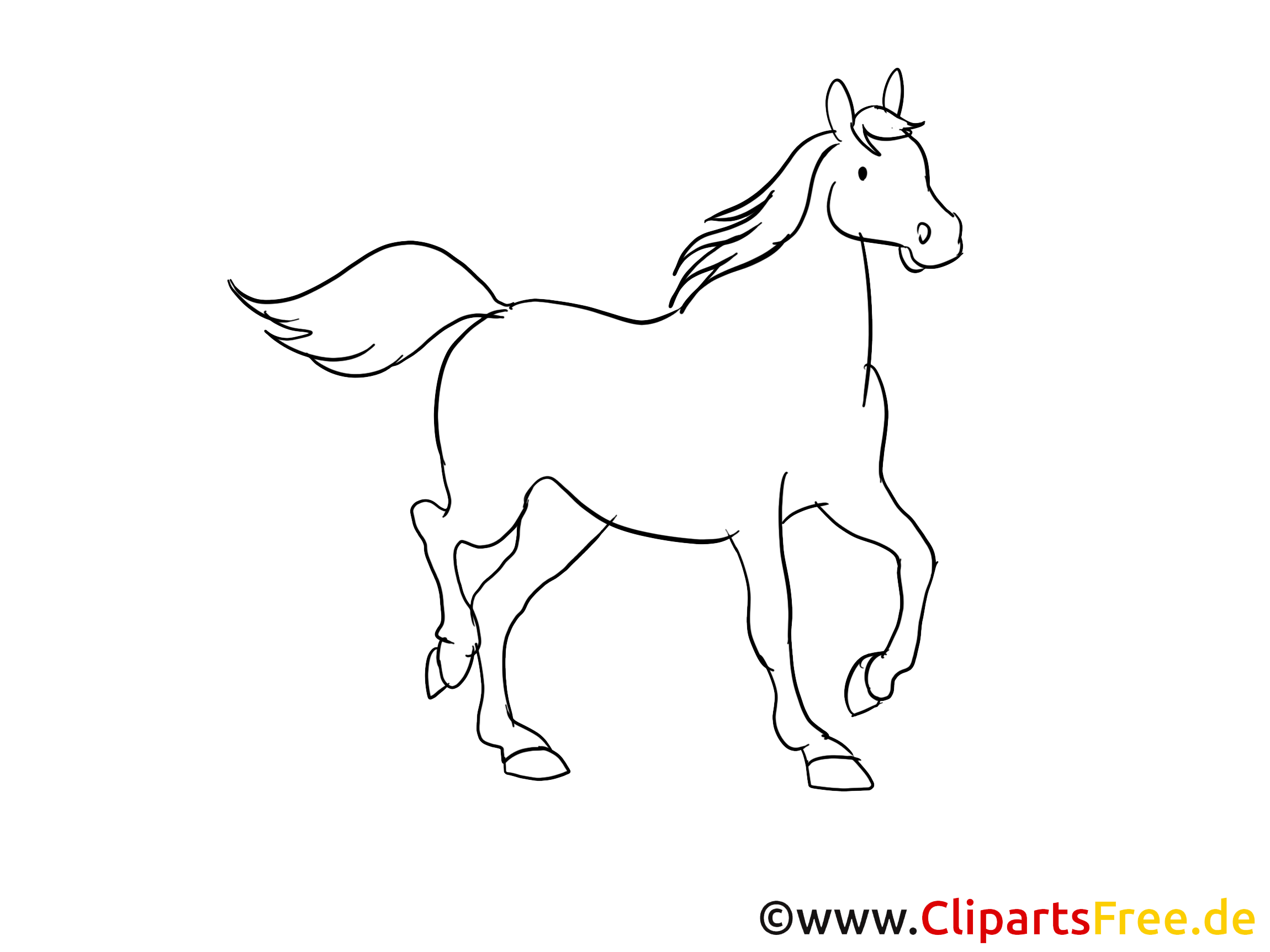 Image gratuite à colorier cheval illustration