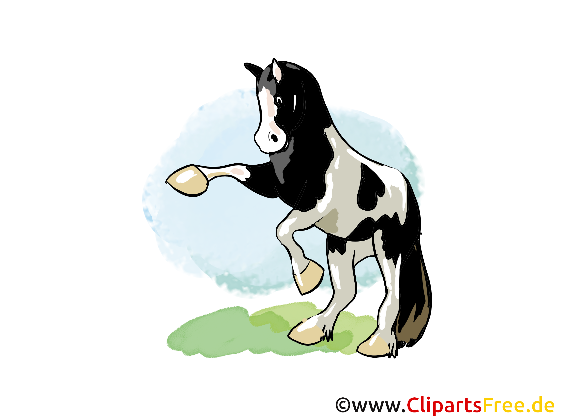 Sur ses pattes de derrière dessin – Cheval cliparts