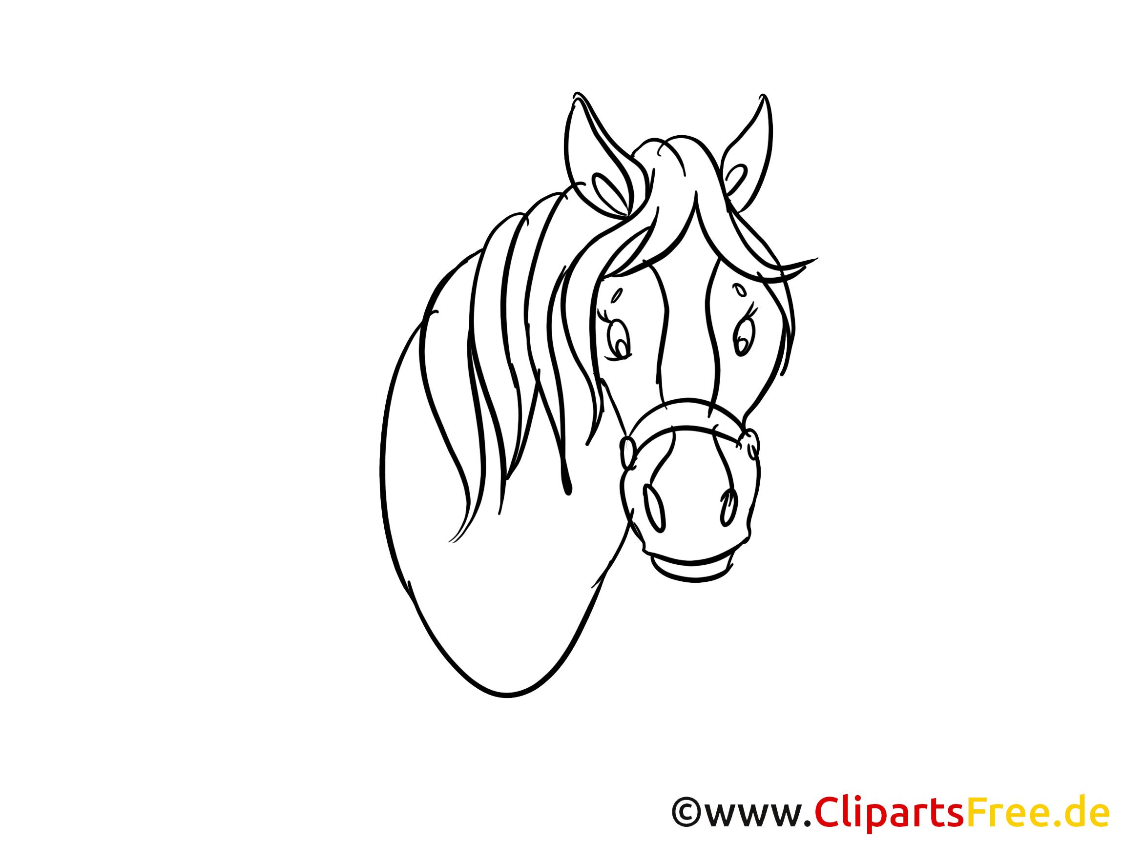 Tête image à imprimer cheval clipart