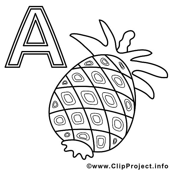 Ananas image gratuite – Alphabet allemand à imprimer