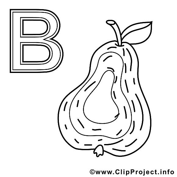 Birne dessin à télécharger – Alphabet allemand à colorier