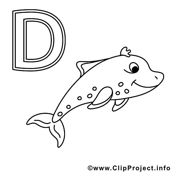 Delphin image – Alphabet allemand images à colorier
