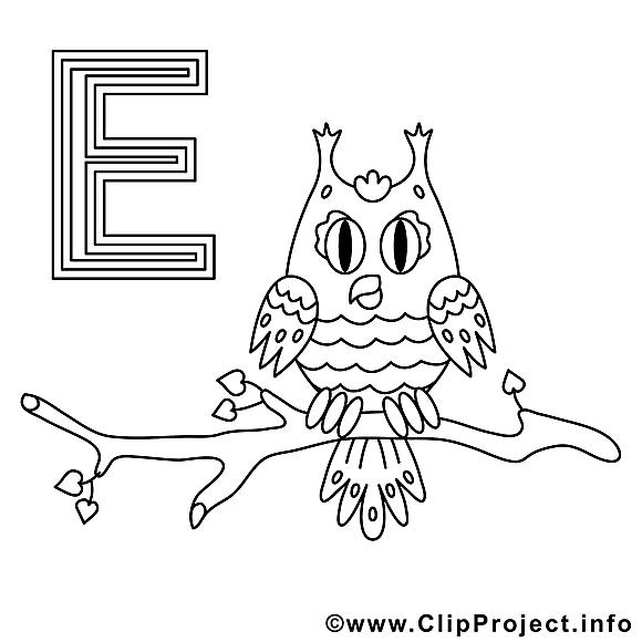 Eule clip art gratuit – Alphabet allemand à colorier