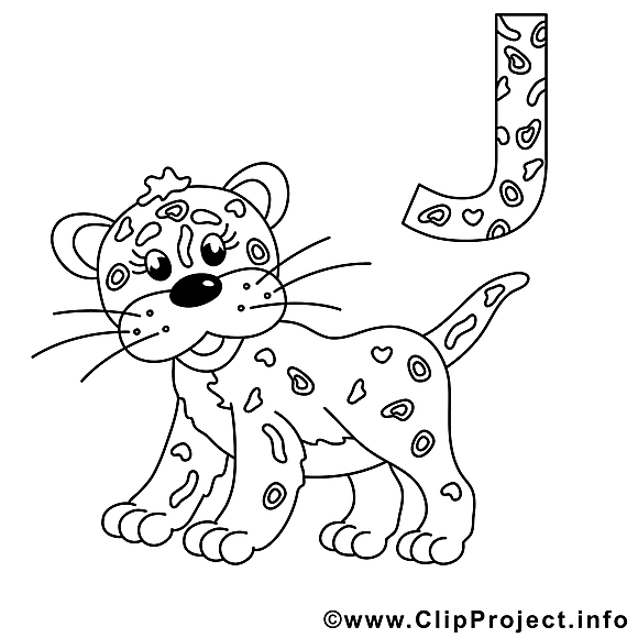Jaguar clipart – Alphabet allemand dessins à colorier