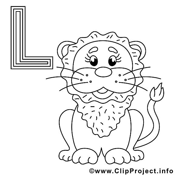 Löwe dessins gratuits – Alphabet allemand à colorier