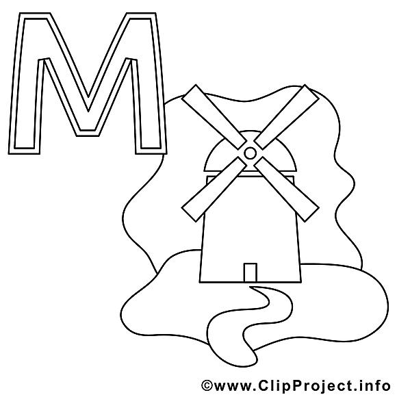 Mühle clip art gratuit – Alphabet allemand à imprimer