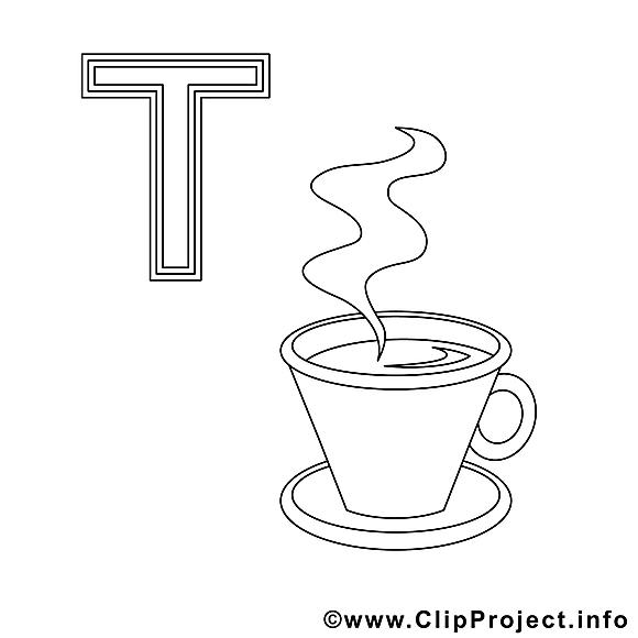 Teetasse dessin – Alphabet allemand gratuits à imprimer