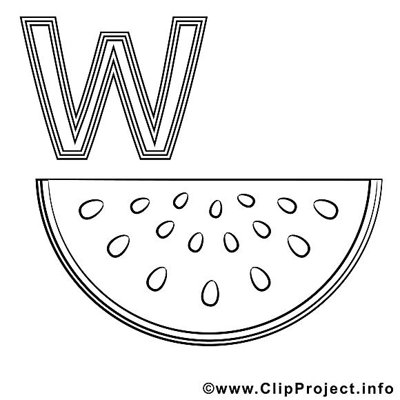 Wassermelone clip art – Alphabet allemand image à colorier