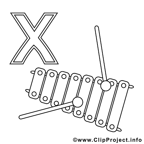 Xylophon illustration – Alphabet allemand à imprimer