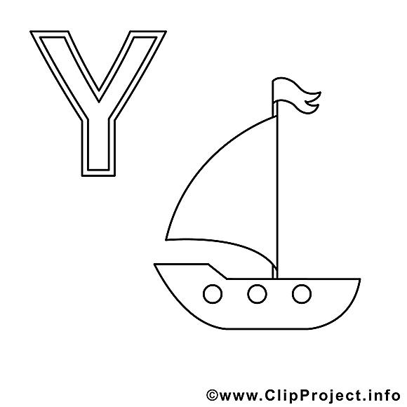 Yacht images gratuites – Alphabet allemand à colorier