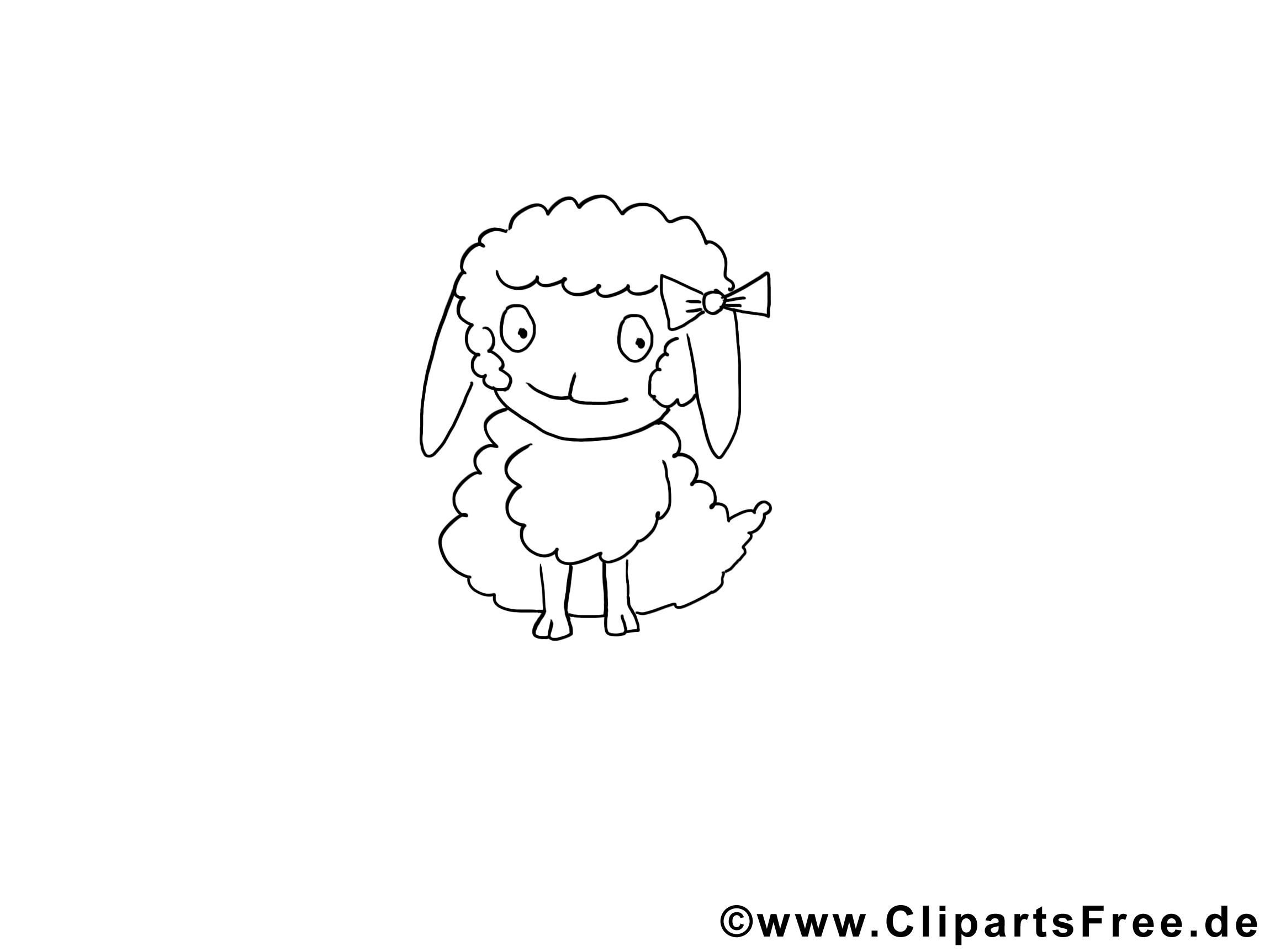 Brebis clip art gratuit – Animal à colorier