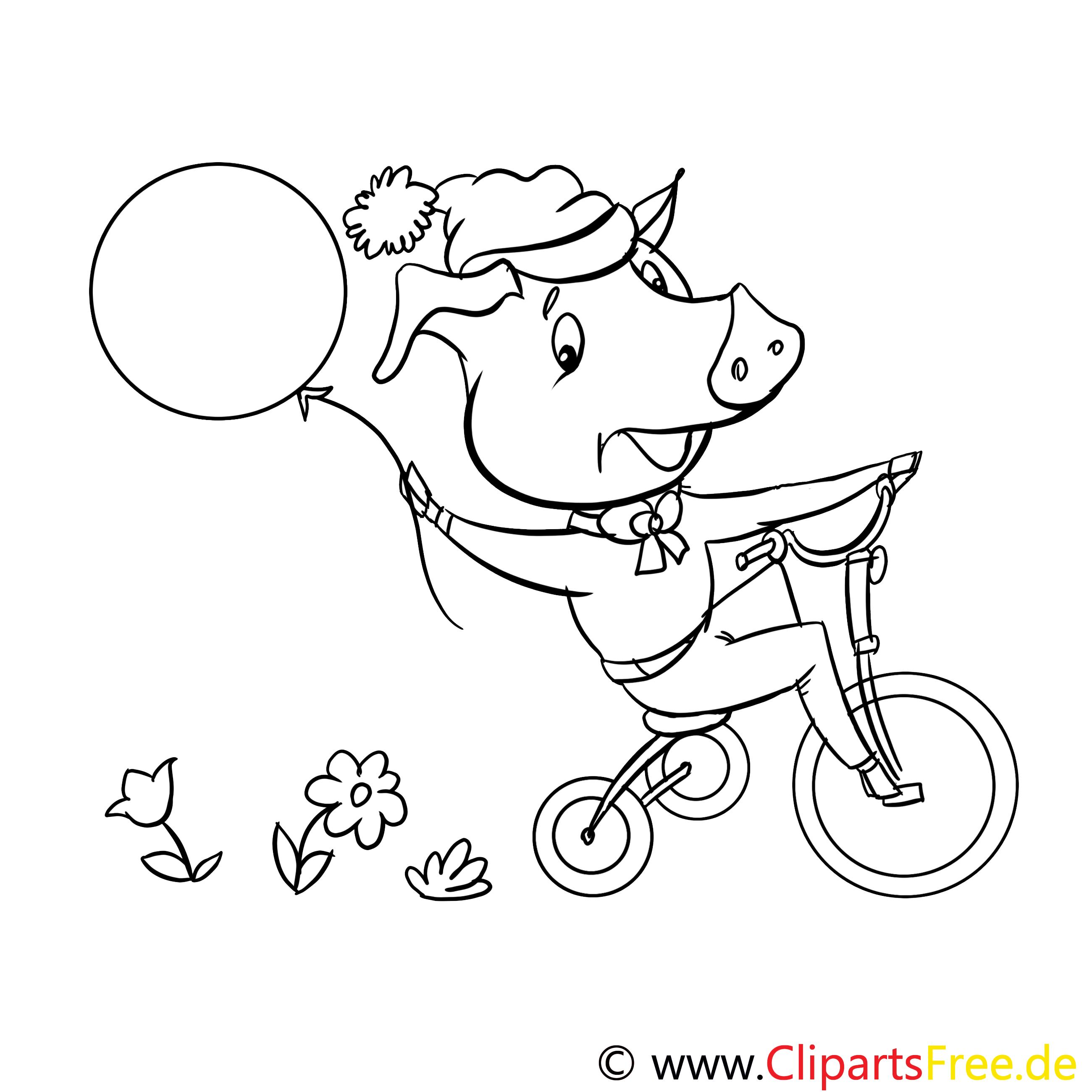 Cochon clip art gratuit – Animal à colorier