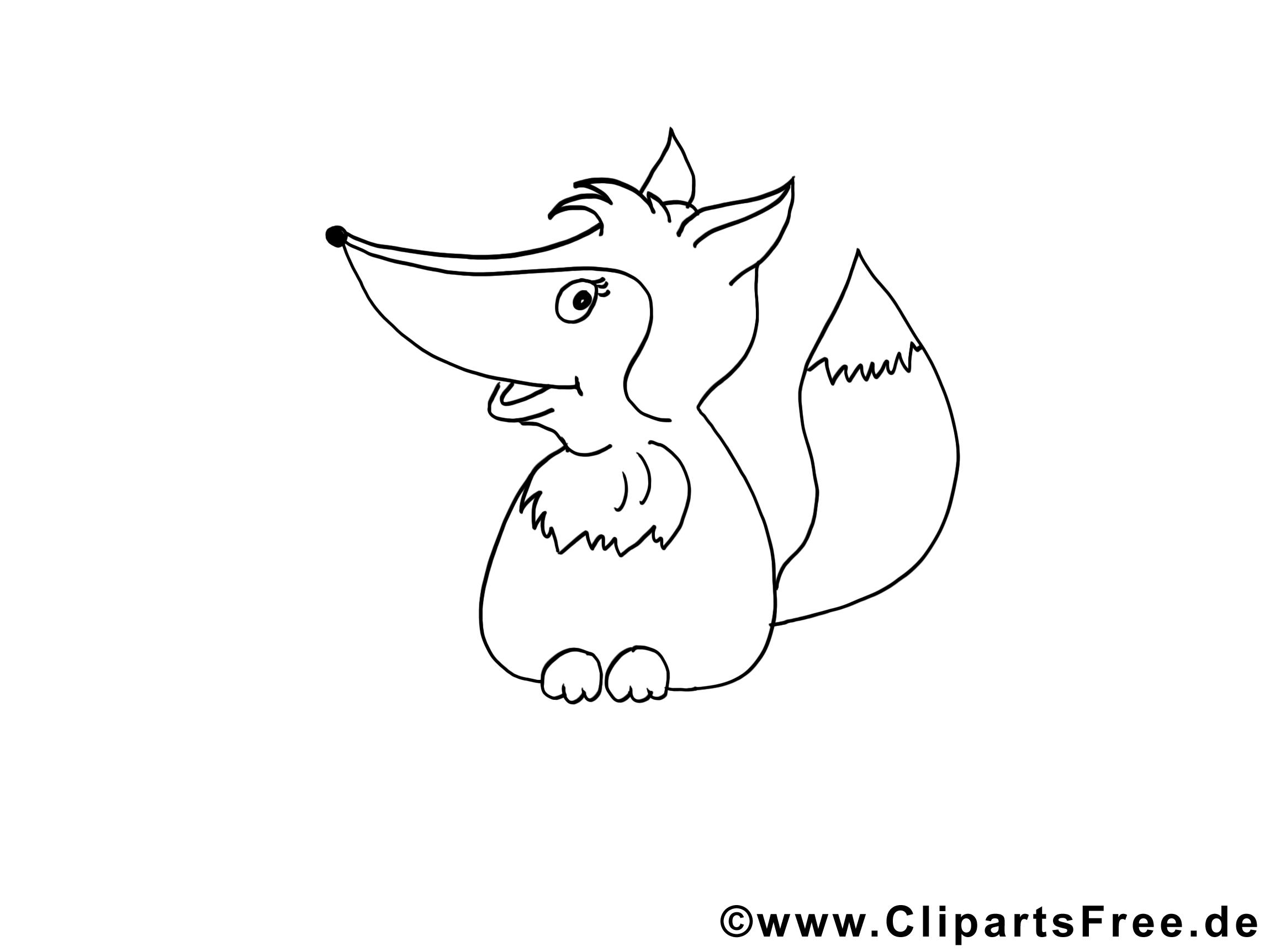 Coloriage renard illustration à télécharger