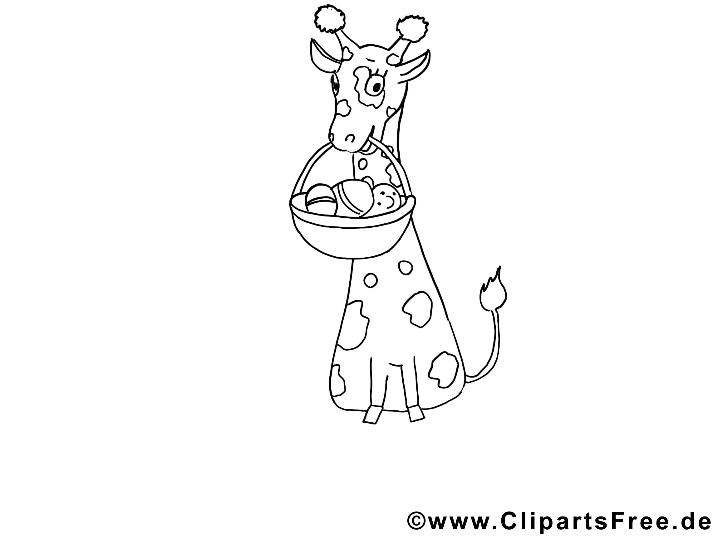 Girafe clip art gratuit – Animal à colorier