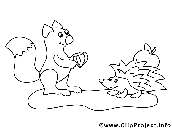 Hérisson écureuil image gratuite – Animal à colorier