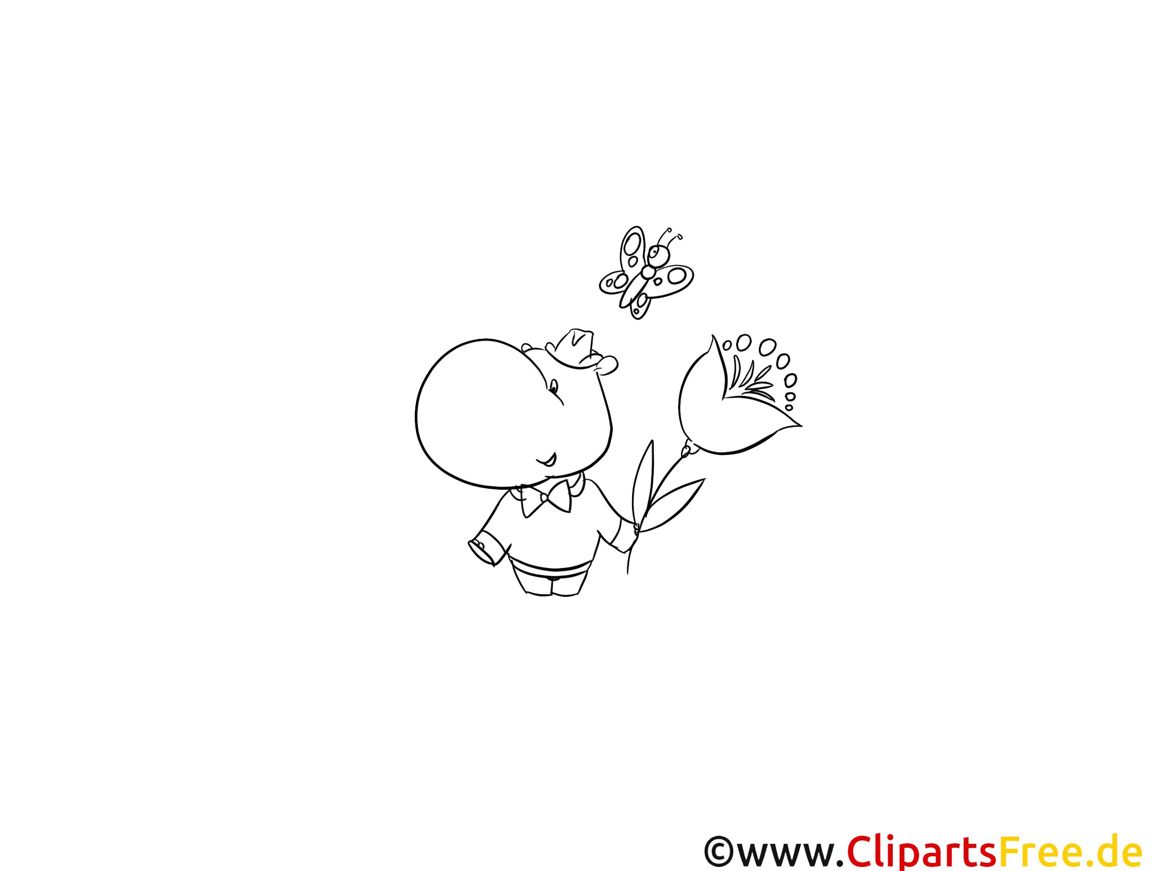 Hippopotame clipart – Animal dessins à colorier