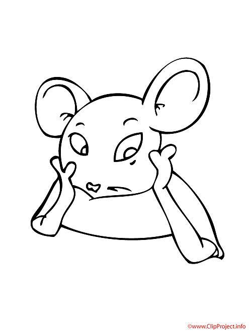 La souris ecoute coloriage