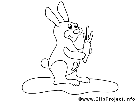 Lapin clip art gratuit – Animal à colorier