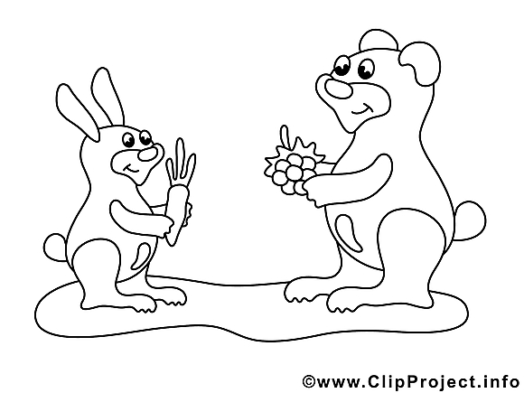 Lièvre ours dessin – Coloriage animal à télécharger