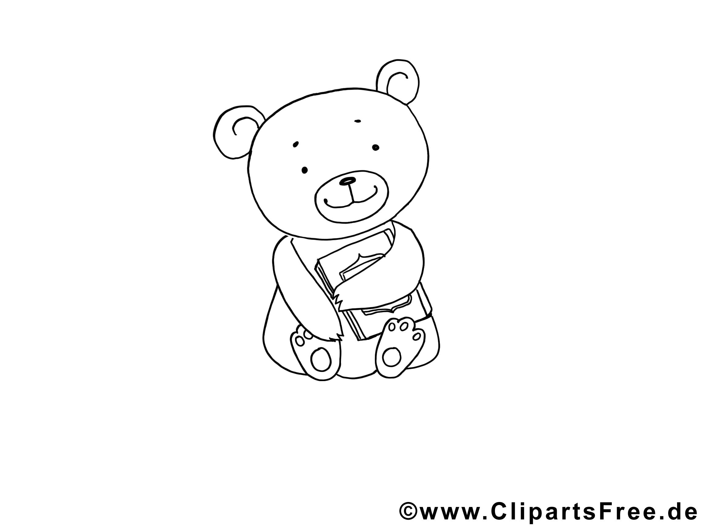 Ours clip art – Animal image à colorier