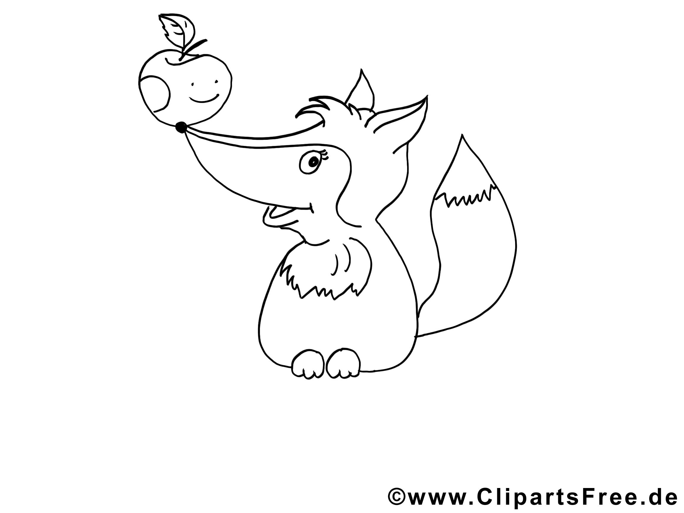 Pomme renard cliparts gratuis – Animal à imprimer