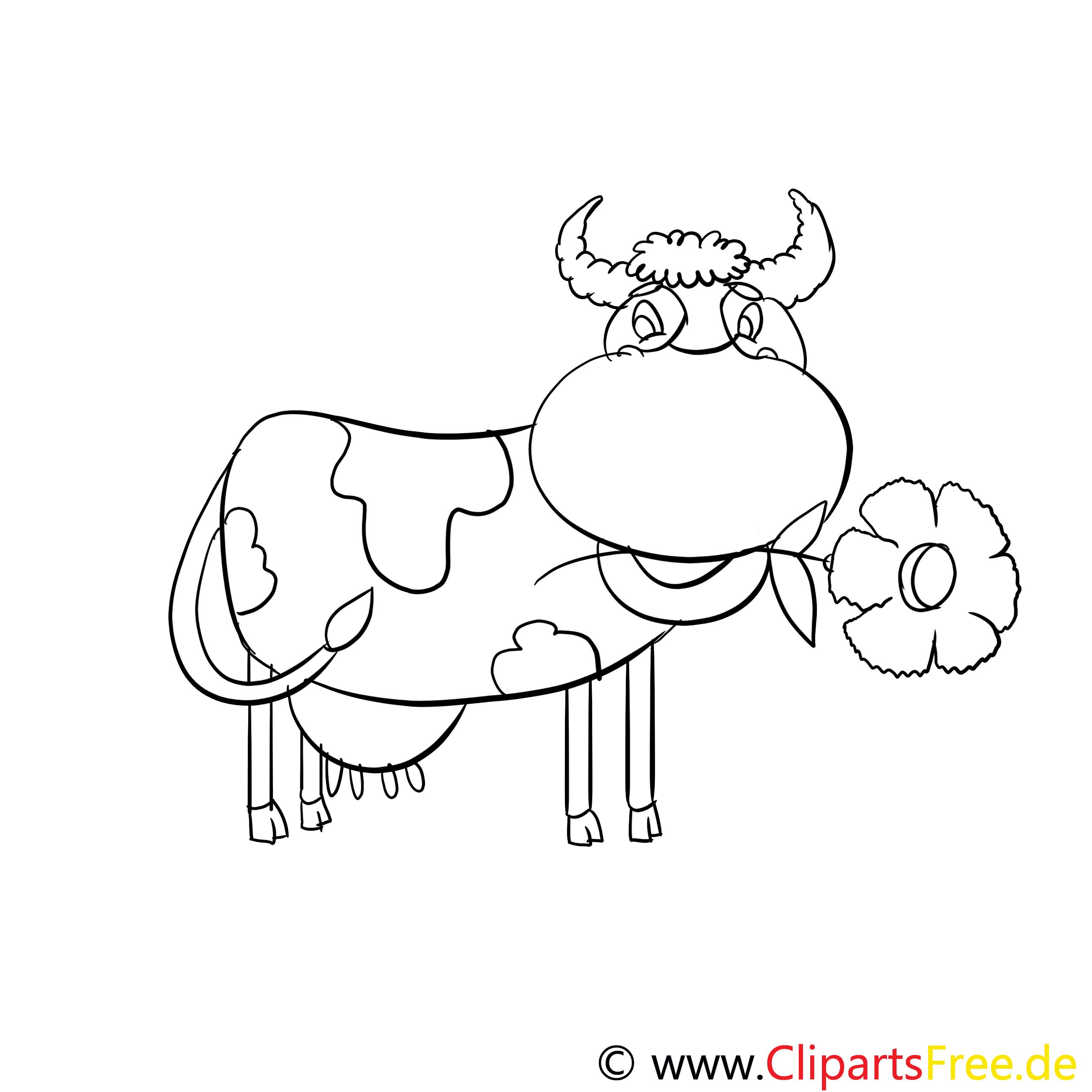 Vache clipart gratuit – Animal à colorier