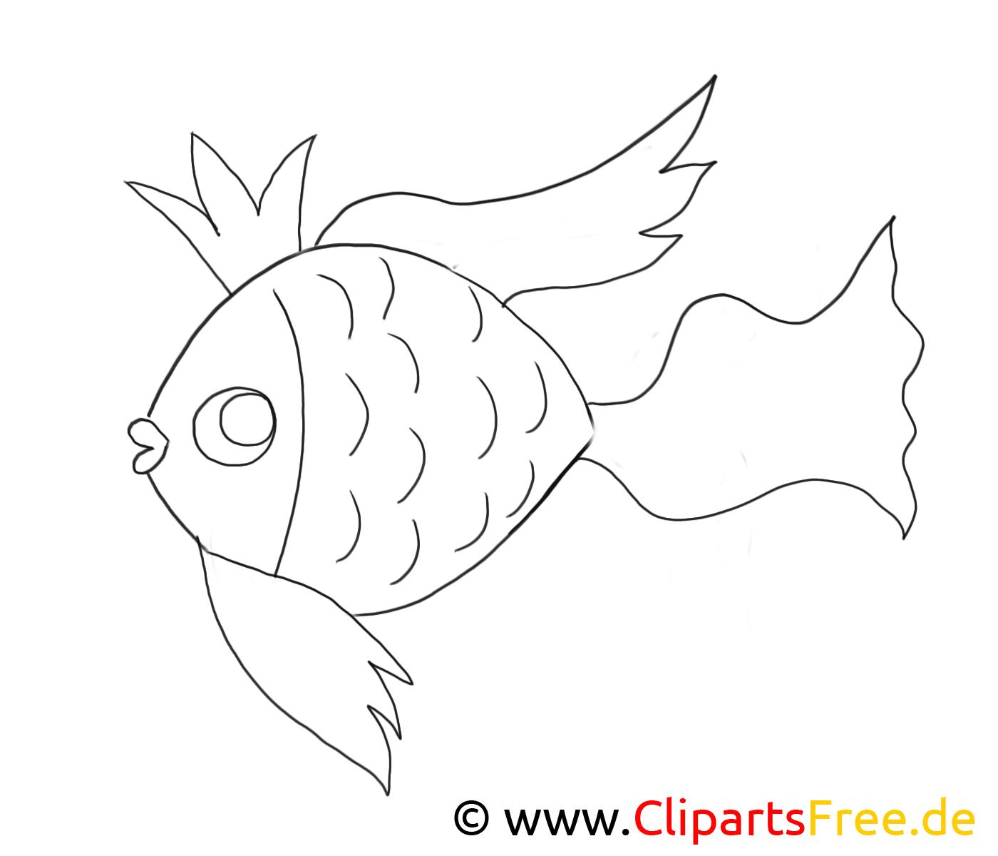 Poisson doré clipart gratuit – Animal à colorier